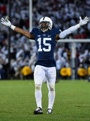 Oct 22, 2016; University Park, PA, USA; Penn State Nittany Lions cornerback Grant Haley (15) reacts against the Ohio State Buckeyes during the fourth quarter at Beaver Stadium. Penn State defeated Ohio State 24-21. Mandatory Credit: Rich Barnes-USA TODAY Sports