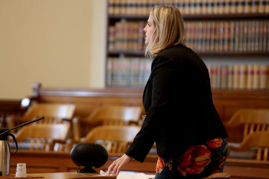 Prosecutor Jayme Kimberly speaks during a sentencing for Quinlyn Harden, 25, of Independence, after being found guilty of 29 counts of sexual abuse, rape, sodomy, attempted rape and unlawful sexual penetration at the Polk County Courthouse in Dallas on Nov. 18, 2019. Harden was sentenced to a total of 54 years and two months in prison for sexually abusing and raping five children at a Polk County day care run by his mother.