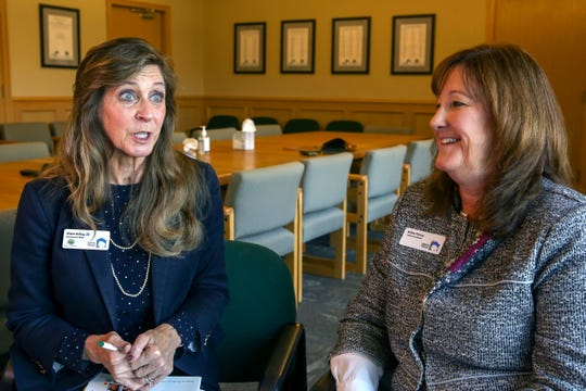 Alison Kelley, CEO, and Kelley Parosa, project coordinator of Liberty House, discuss the child abuse prevention training their program runs for residents of Marion and Polk counties. At Liberty House in Salem on Nov. 7.