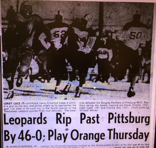 Running back Leroy Crawford is pictured on a 66-yard run in San Angelo Blackshear's 46-0 win over Pittsburg in the 1950 state quarterfinals.