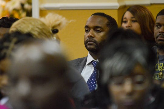 Shreveport mayor Adrian Perkins attends a memorial on Monday, Nov. 18, 2019, at Precious Memories Mortuary for 2-year-old Kynsley Robinson. The toddler died after she was shot in the head Friday, Nov. 15, 2019.