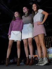 Senior models Gabby Stimits, Sage Travinski, Lewis Gallegos at Loyola College Prep Style Show.