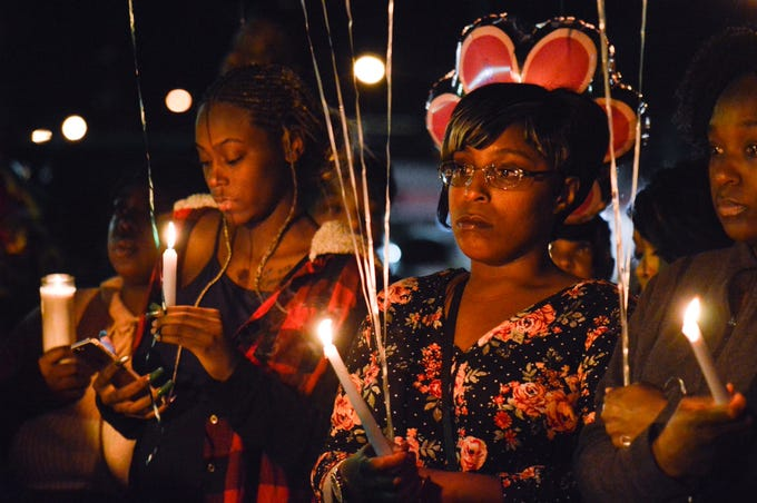 A vigil was held Monday, Nov. 18, 2019, at Precious Memories Mortuary for 2-year-old Kynsley Robinson. The toddler died after she was shot in the head Friday, Nov. 15, 2019.