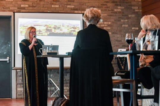 Christy Reiner speaks at a fundraiser she hosted for In His Steps, a nonprofit aimed at providing breast cancer treatment and support to people living in the Holy Land, on Sunday, Nov. 17, at the Barrel House in Sioux Falls.