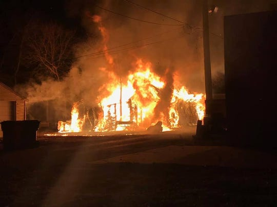A fire completely destroyed a garage at 310 Pearl Street in Yankton on Monday night, authorities say.