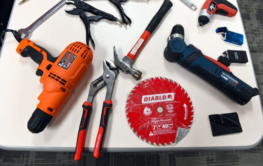 Power tools are not allowed in carry-on baggage, especially now that many airplane seats come outfitted with electrical outlets. Manual hand tools are also prohibited, as they can be used as weapon.