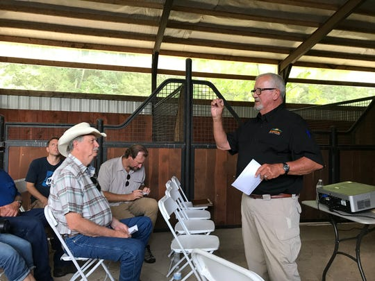 Missouri State Parks Director Ben Ellis talks to a crowd at Ozark Mountain State Park near Branson this past summer. He retired on Nov. 15.