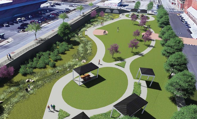 A rendering and potential design for what is now a parking lot covering Jordan Creek downtown.