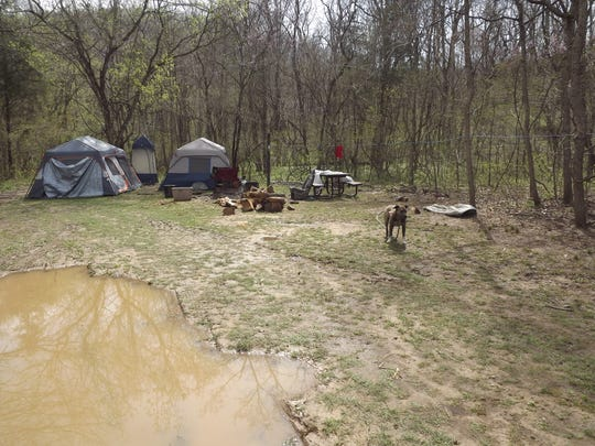 A view of the campsite where two suspects were arrested for illegally digging up artifacts at Ozark National Scenic Riverways park.