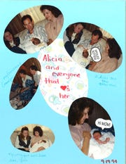 A page from a scrapbook created by Jill Love who placed her daughter Alicia Devine for adoption. The page has photos from the day Jill handed Alicia to her adoptive parents Jim and Cheryl Devine.