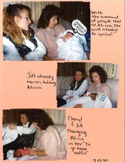 A page from a scrapbook created by Jill Love who placed her daughter Alicia Devine for adoption. The images on the page are from the day Jill gave Alicia to her adoptive parents Cheryl and Jim Devine.