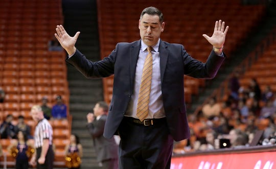 UTEP head coach Kevin Baker throws up his hands as his team falls behind against UNM at the Don Haskins Center on Nov. 19, 2019, in El Paso.