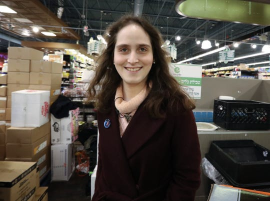 """Abby Stein, author of """"Becoming Eve,"""" a former Monsey resident, visits the Evergreen Kosher Market in Monsey Nov. 18, 2019."""