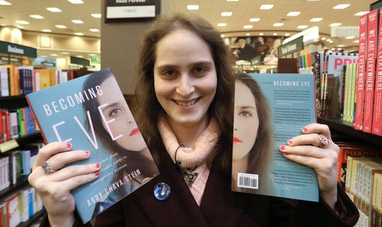 """Abby Stein, author of """"Becoming Eve,"""" a former Monsey resident, found copies of her book on sale at Barnes and Noble at the Palisades Center Nov. 18, 2019."""