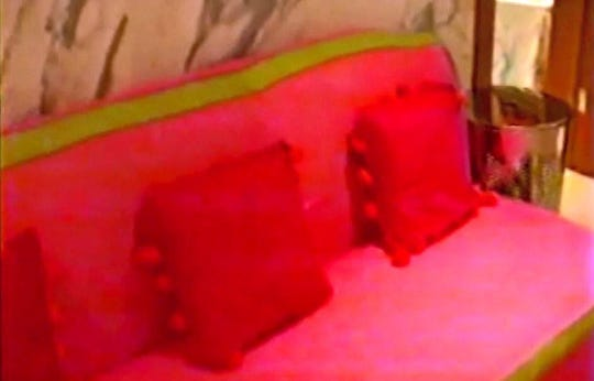 Several girls described this hot pink and green couch in Jeffrey Epstein's master bathroom. [Palm Beach Police walkthrough video]