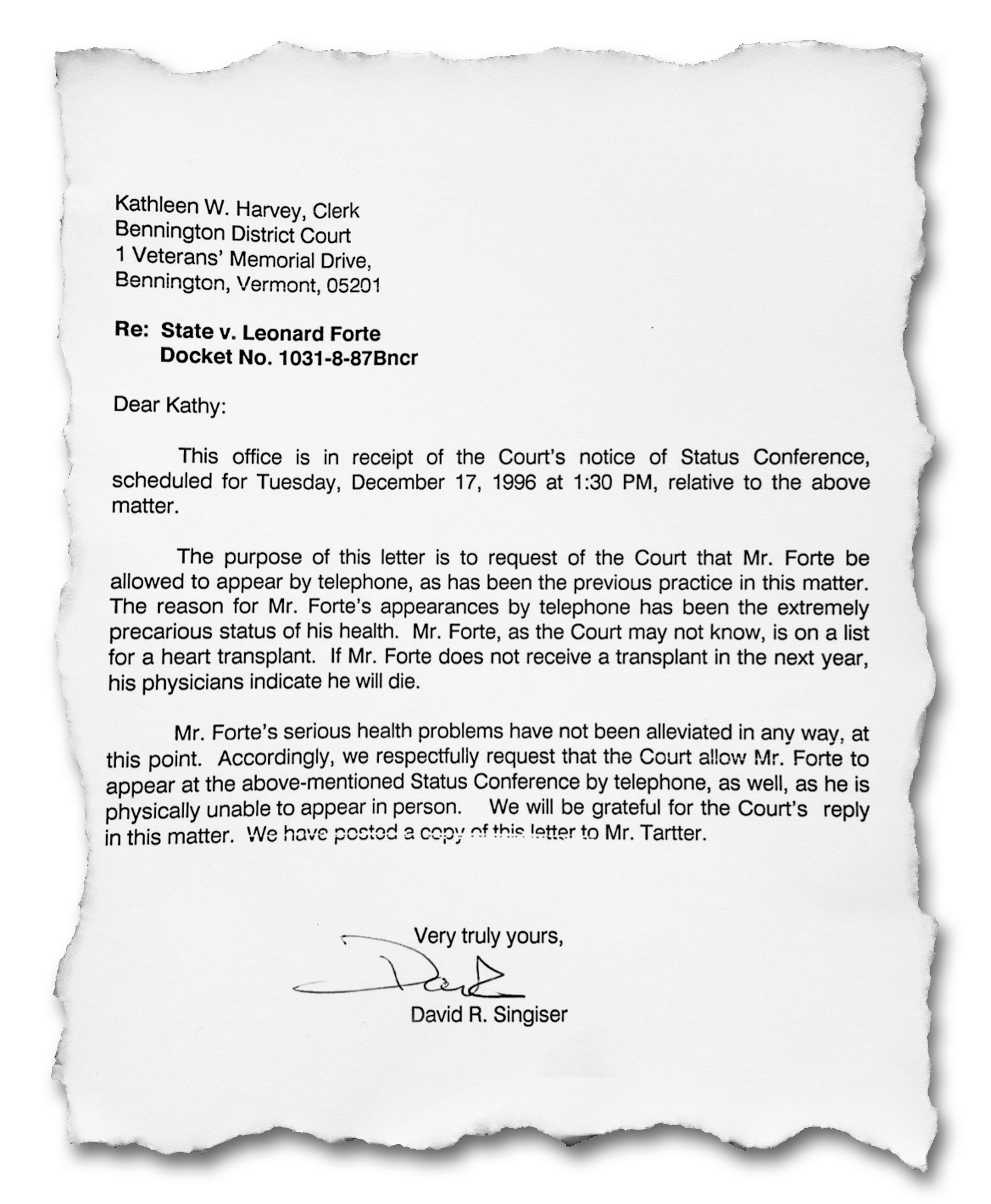 Document showing Leonard Forte asking for leeway because of his health in 1996.
