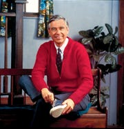 "Fred Rogers went through his ritual of changing out his coat and jacket at the beginning and ending of every episode of ""Mr. Rogers' Neighborhood."""