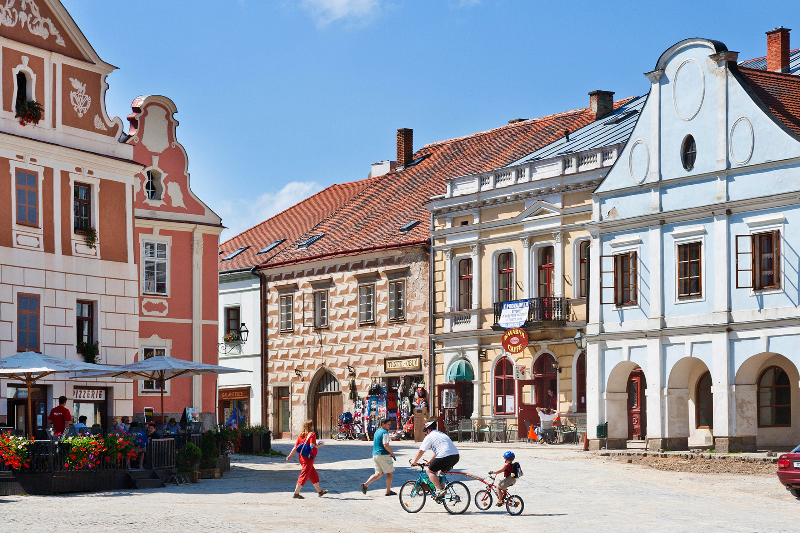 نتيجة بحث الصور عن In Czechia, Telč's main square is lined with pastel-hued Renaissance and baroque houses.