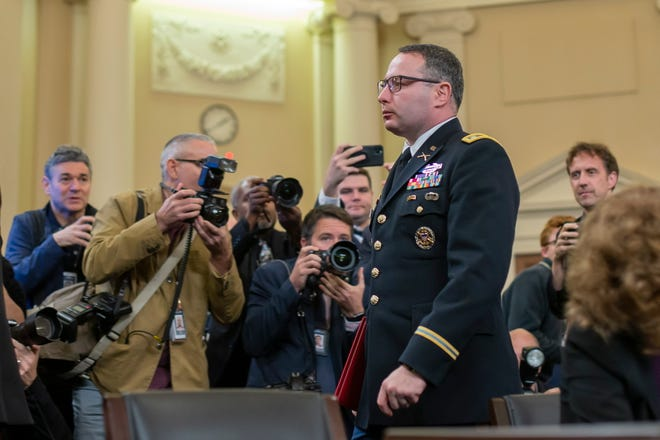 Lt. Col. Alexander Vindman finishes his testimony during the impeachment inquiry into President Donald Trump on Nov. 19, 2019.