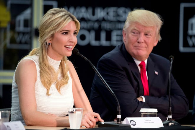 President Donald Trump and his daughter and adviser Ivanka attend a workforce development roundtable at Waukesha County Technical College on June 13, 2017, in Pewaukee, Wis.