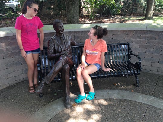"""""""The Forged Fred,"""" a Jon Hair statue dedicated in 2016, is a popular spot for Latrobe tourists and locals alike."""