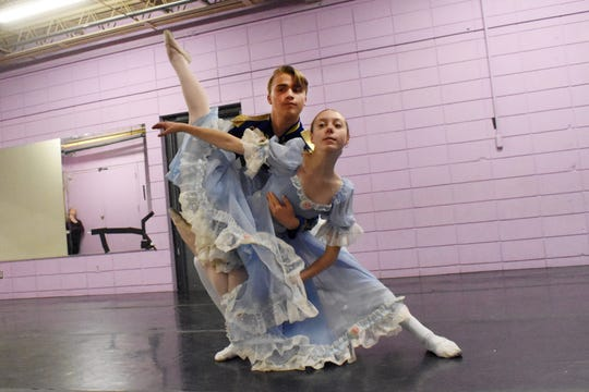 "Marin Moreau (right) stars as Clara and Avery Thompson (left) as The Nutcracker in the Red River Dance Theatre Company's ""The Nutcracker Ballet."""