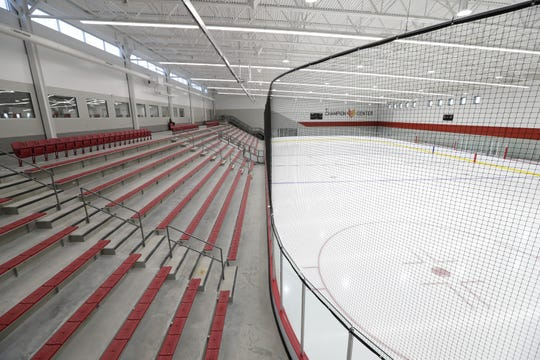 The main ice arena at the Community First Champion Center seats 1,000 people.