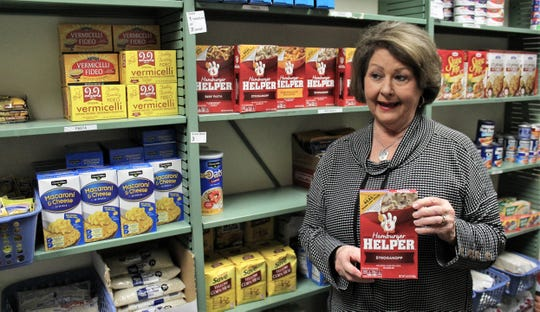 Mary Montgomery talks about what nonperishable items can be found at the Food for Thought pantry at the Abilene campus of Cisco College. The pantry, which Montgomery oversees, is available to students who have food insecurities. Nov. 4 2019