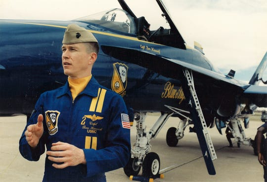Capt. Ben Hancock, Blue Angel No. 2, speaks at the 1994 air show at Dyess Air Force Base.