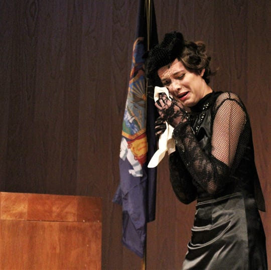 """The wife (Peyton Scroggins) of the late Bjorn Faulkner cries after testifying in this rehearsal scene from """"The Night of January 16th,"""" a courtroom drama on stage at Hardin-Simmons University. No. 18 2019"""