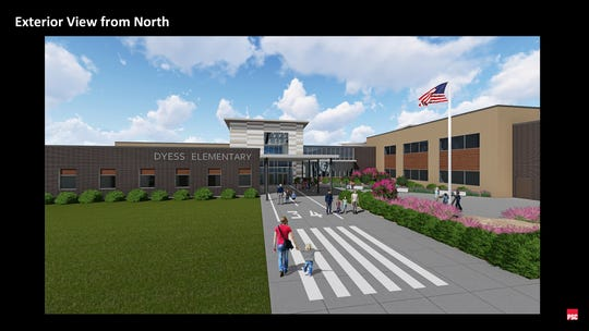 Dyess Elementary 's walkway up to the school will be painted similar to a runway, according to this rendering of the replacement campus set to open in the 2021-22 school year.