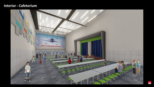 A rendering of what architects envision the new Dyess Elementary cafeteria will look like once the new campus is built to open for the 2021-22 school year.