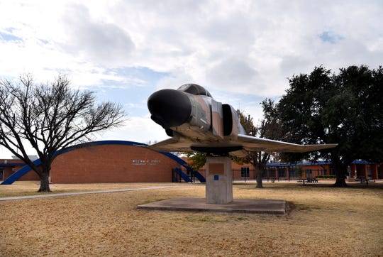 The Dyess Elementary School F-4 Phantom II static display will need to be moved for the school's replacement, which officials said is not currently in the budget. But architects are designing a memorial park at the school where the plane would sit front and center, in case the funds can be found.
