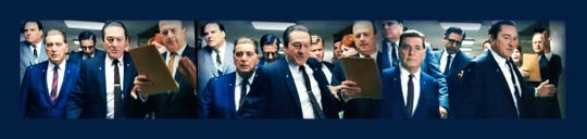 """Spiedie marinade company owner Rob Salamida, right, cameos in """"The Irishman,"""" a film directed by Martin Scorsese and featuring Robert DeNiro and Al Pacino. He was picked as an extra with help from his cousin Craig Vincent, far left, who is an actor."""