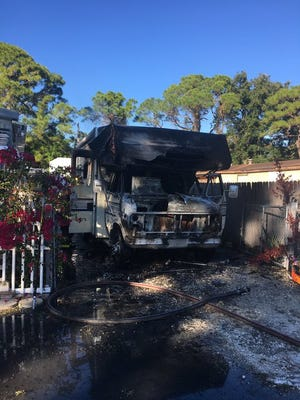Brevard County firefighters respond to RV fire in Sharpes.