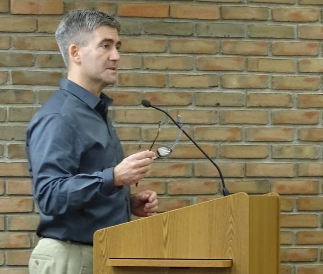 Gary Frankhouse of the Crawford Partnership speaks to members of Bucyrus City Council on Tuesday.