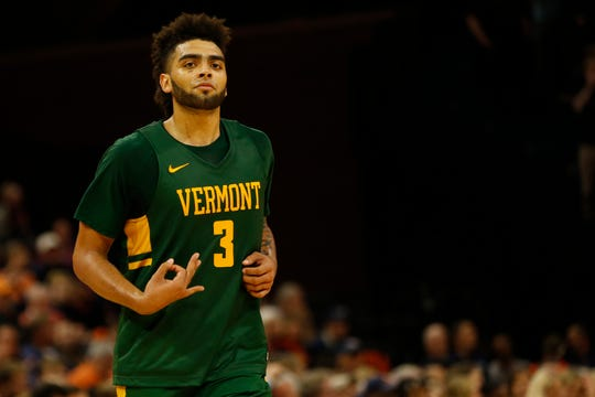 Nov 19, 2019; Charlottesville, VA, USA; Vermont Catamounts forward Anthony Lamb (3) gestures after making a three point field goal against the Virginia Cavaliers in the second half at John Paul Jones Arena. Mandatory Credit: Geoff Burke-USA TODAY Sports