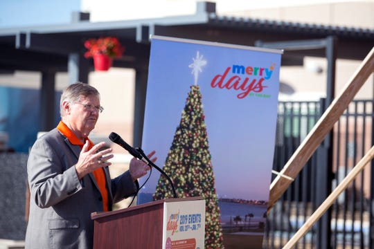Mayor Joe McComb speaks about Merry Days by the Bay, which includes the second year of the H-E-B Holiday Tree, located on the Bayfront at Water's Edge Park, and community events throughout the city nearly every day of the holiday season, during a press conference at the Residence Inn by Marriott on Wednesday, November 20, 2019.