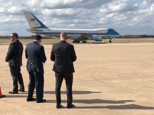 Air Force One arrives in Austin for President Donald Trump's visit to Apple's Flex center, Nov. 2019.