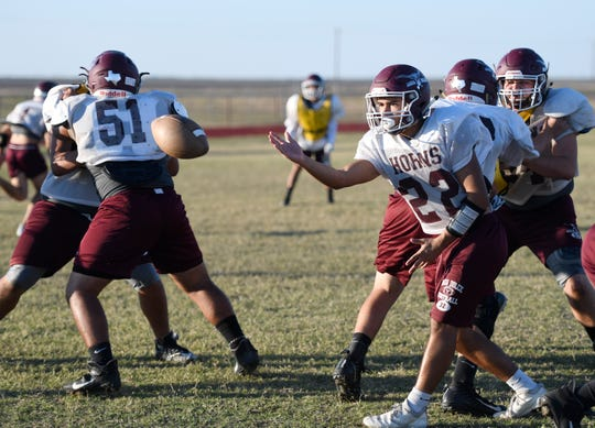 Agua Dulce's football team practices, Tuesday, Nov. 19, 2019, in Agua Dulce. Agua Dulce's playoff win on Saturday was the team's first win in the playoffs in 25 years.