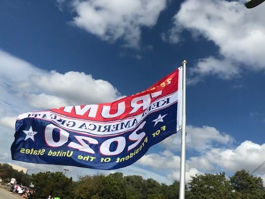 A Trump flag outside the Apple Flex center in advance of the president's visit to Austin, Nov. 20, 2019.