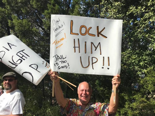 Rick Davis, 68, said he was a lifelong Republican until Donald Trump was elected president. He was among those protesting Trump's visit to Austin, Nov. 20, 2019.