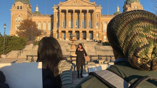 Monica Reyes speaks to the Students Against the Camps group on Nov. 19, 2019 at the Iowa State Capitol. A couple dozen people marched about a mile from Des Moines East High School to the gold-topped dome Tuesday afternoon. Reyes spoke about her family's experience coming to America and some of the issues she's seen in the country's immigration system.