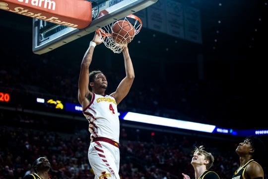 Iowa State's George Conditt dunks the ball during the Iowa State men's basketball game against Southern Mississippi on Tuesday, Nov. 19, 2019, at Hilton Coliseum in Ames.