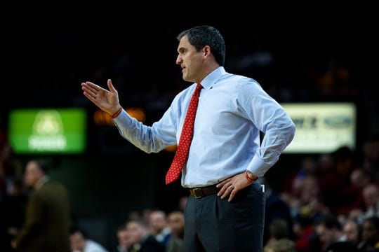 Iowa State Head Coach Steve Prohm reacts to the game during the Iowa State men's basketball game against Southern Mississippi on Tuesday, Nov. 19, 2019, at Hilton Coliseum in Ames.