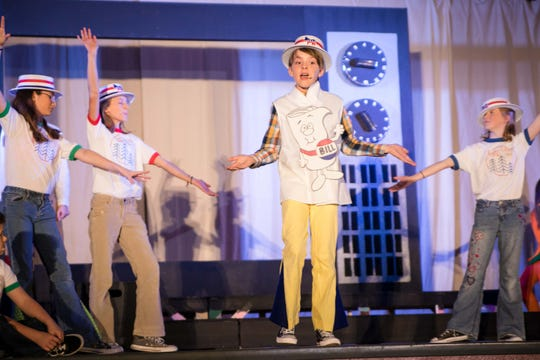"""Western Hills Elementary student Owen Borgstadt sings """"Just a Bill"""" while rehearsing a scene from """"School House Rock! Jr."""" More than 85 students from the West Des Moines school will perform the musical this week."""