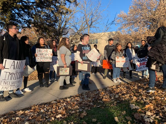 The Students Against the Camps group  gathers Nov. 19, 2019, outside of East High School in Des Moines for a march to the Iowa state Capitol. The students are protesting what they call unfair immigration practices at the U.S. southern border. Andy Montalvo Martínez, far left, helped organize the effort.