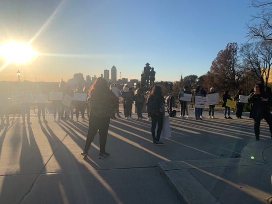 The Students Against the Camps group  on Nov. 19, 2019 reaches the Iowa state Capitol after marching about a mile from Des Moines East High School. Some students spoke to the dozens in attendance before delivering a message to the governor's office urging her visit detention camps for immigrants seeking asylum.