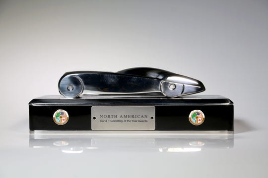 The new North American Car, Truck and Utility of the Year Awards trophy. Eric Seals/Detroit Free Press