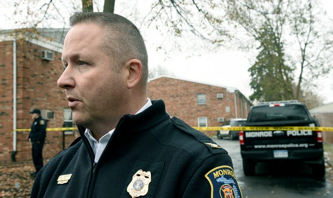 Monroe Police Chief Charles F. McCormick IV gives a statement Tuesday, Nov. 19, 2019, about the two Monroe police officers who were shot and wounded this morning during an alleged dispute between a landlord and a tenant in Monroe, Mich..